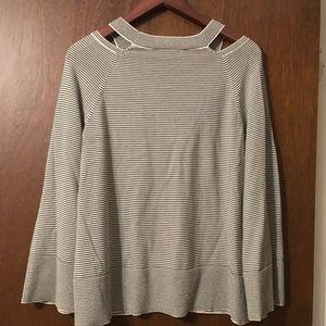 LOFT olive and cream sweater